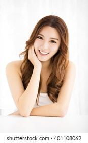 Closeup portrait of  attractive young woman smiling