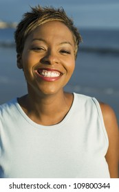 Closeup portrait of a beautiful African American woman smiling