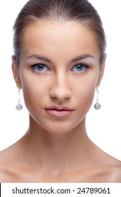 close-up portrait of beautiful blue eyed caucasian model on white