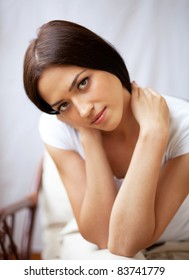 Close-up portrait of beautiful brunette young woman