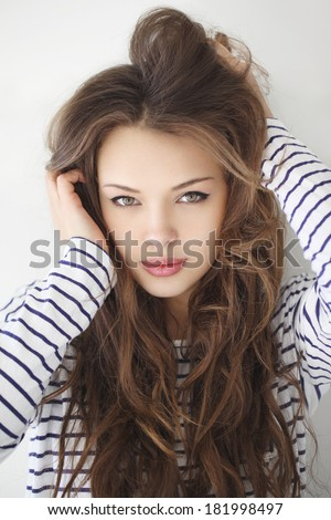 9416ec2074 Closeup Portrait Beautiful Brunette Young Girl Stock Photo (Edit Now ...