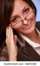close-up portrait of beautiful businesswoman