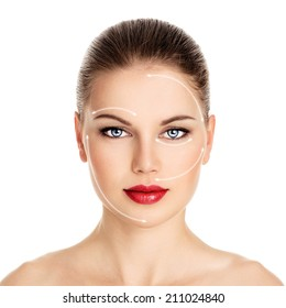 Close-up portrait of beautiful Caucasian female ready for botox injection isolated over white background. Cosmetic surgery and aesthetic medicine concept.