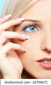 close-up portrait of beautiful girl's eye-zone make-up