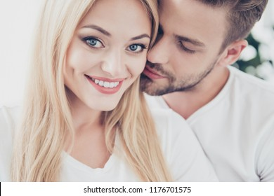 Close-up portrait of beautiful lovely nice cute adorable dreamy stylish trendy courting-couple on honeymoon, girl with shiny beaming smile, wearing casual white t-shirts