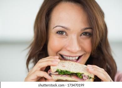 Big and beautiful ebony woman in sandwich between two big