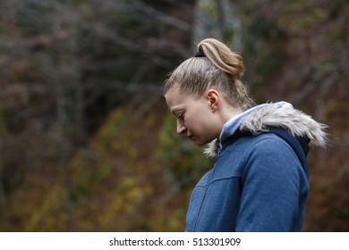 Closeup portrait of a beautiful tourist woman outdoor