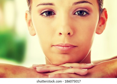 Close-up, portrait of a beautiful woman getting ready for the spa treatment