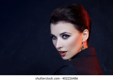 Close-up Portrait of Beautiful Woman With Red Lips