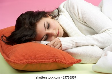 Closeup portrait of beautiful woman sleeping in the bed