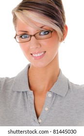 Close-up portrait of beautiful woman smiling wearing eye-glasses