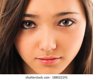 Close-up portrait of a beautiful young Asian woman.