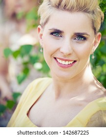 close-up portrait of beautiful young blond woman