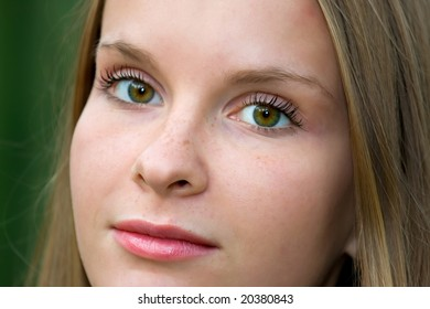 Close-up portrait of beautiful young fashion model girl