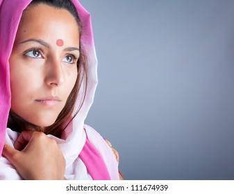 Closeup portrait of a beautiful young indian woman