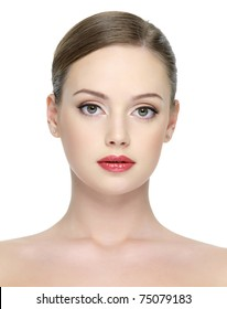 Close-up portrait of beautiful young sexy woman with bright red lipstick on her lips - isolated on white