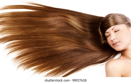 closeup portrait of a beautiful young woman with elegant long  shiny hair , hairstyle , isolated on white background , healthy straight hair