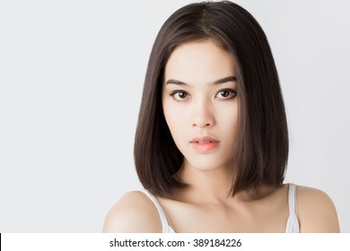 Closeup portrait beauty Asian woman face. Beautiful attractive Thai female studio shot.