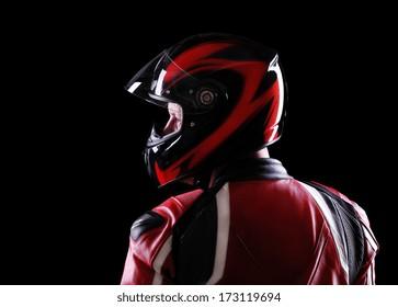 closeup portrait of a biker back view