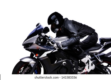 closeup portrait of a biker riding his bike on white background side view