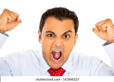 Closeup portrait, bitter, displeased pissed off, angry grumpy man, open mouth, fists in air, screaming and yelling, isolated white background. Negative human emotion facial expression feeling