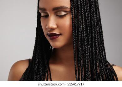 closeup portrait of black woman with braids