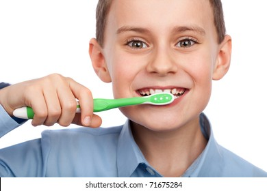 Closeup portrait of a  boy brushing his teeth
