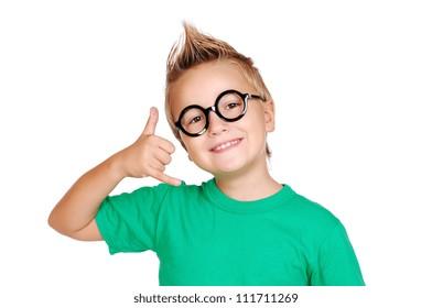 Closeup portrait of a boy making a call gesture