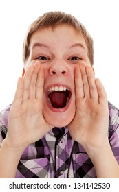 Closeup portrait of a boy  screaming out loud on a white background