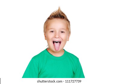 Closeup portrait of a boy showing tongue