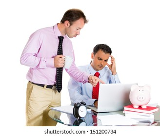 A close-up portrait of businessman boss checking on his employee who is working hard on a project on his computer, isolated on a white background. Interpersonal human relationship at work.