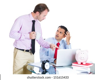 A close-up portrait of businessman boss checking on his employee, working hard on a project on computer, and is in disagreement with boss, isolated on white background. Human relationships at work.