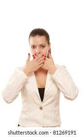 Closeup portrait of a businessman closing her mouth with hands, isolated on white