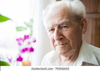 close-up portrait of a calm old man