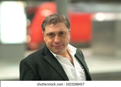 Closeup portrait of a caucasian adult man