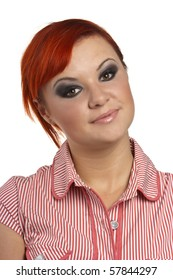 Close-up portrait of caucasian young woman with make-up