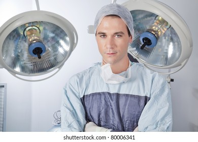 Close-up portrait of confident young male doctor