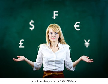 Closeup portrait confused, attractive young business woman standing, juggling with currency icons, isolated dark green background. Banking, exchange rate concept, economy. Facial expression, reaction