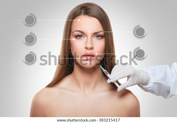 closeup portrait of cosmetic botox injection in the female face lip zone