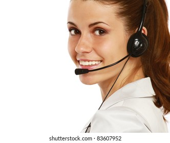 Close-up portrait of customer support operator, isolated