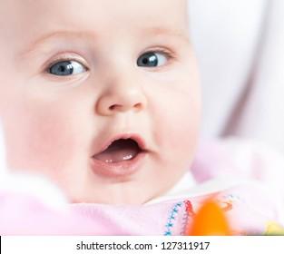 closeup portrait of a cute baby