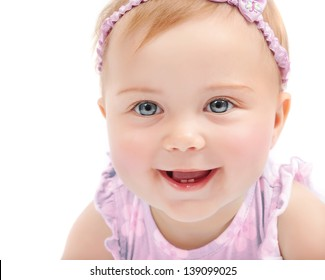 Closeup portrait of cute baby girl isolated on white background, adorable child having fun in studio, happiness concept