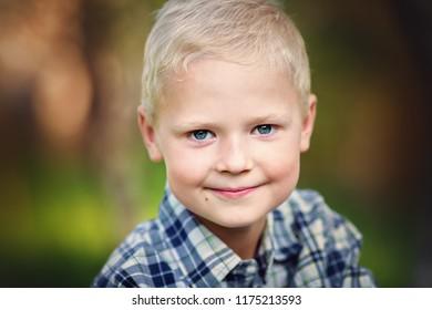 Closeup portrait of cute boy