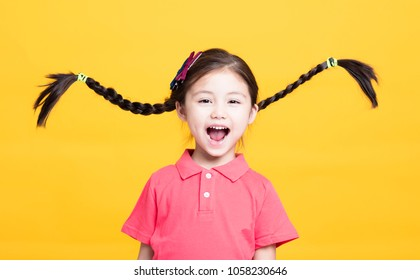 Closeup portrait of cute little girl having fun