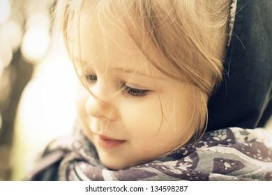 Closeup portrait of cute little girl