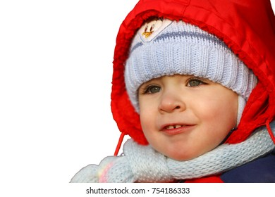 close-up portrait of cute toddler in winter clothes on white isolated background