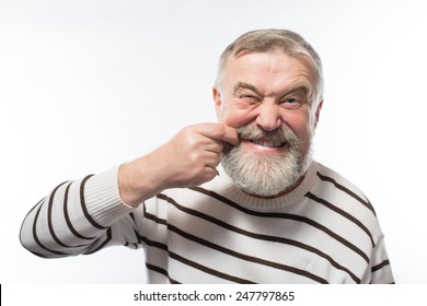 Closeup portrait elderly business man with tooth ache crown problem cavity crying from pain touching outside mouth with hand isolated white background. Negative human emotion facial expression feeling