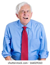 Closeup portrait of elderly executive, senior man, grandfather, looking unhappy, annoyed, having trouble hearing his opponent, during unpleasant conversation, isolated on white background. Expressions