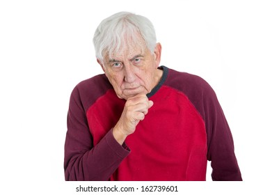 Closeup portrait of elderly, poor man, retired old guy, grandfather, senior former employee deep in thought, troubled with something, sad and concerned, isolated on white background. Human emotions
