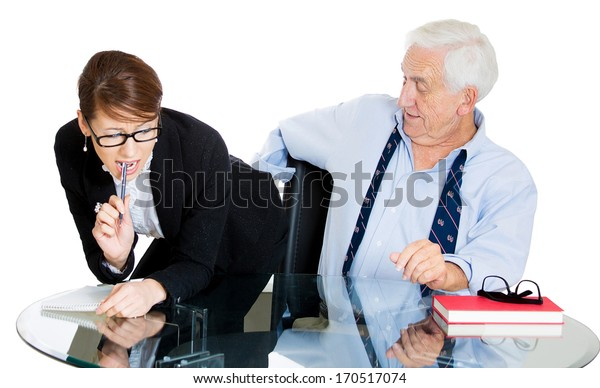 Closeup portrait of elderly senior mature man, ceo, executive, leader who is checking out his hot young secretary woman worker butt, isolated on white background. Scandals at the workplace